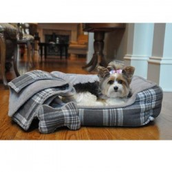 Ultra Soft Plush Gray Plaid Pet Bed with Bone and Blanket