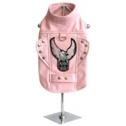 The Pink Born To Ride Motorcycle Harness Jacket for Dogs