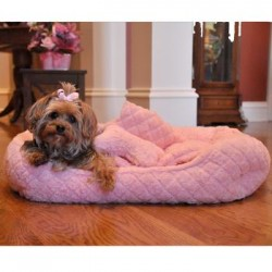Ultra Soft Plush Pink Diamond Quilt Pet Bed with Bone and Blanket