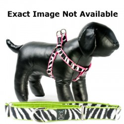 Zebra on Lime Adjustable Step-in Dog Harness